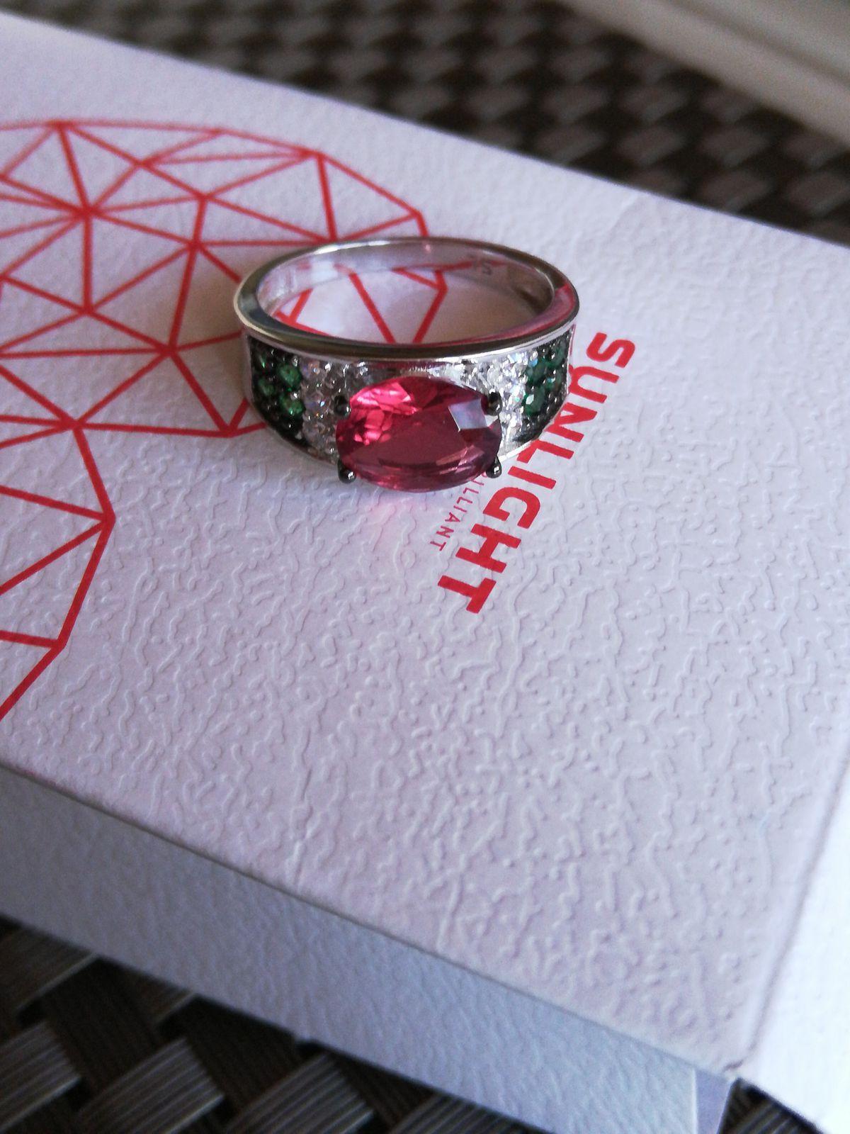 Кольцо серебро, фианит, алпанит