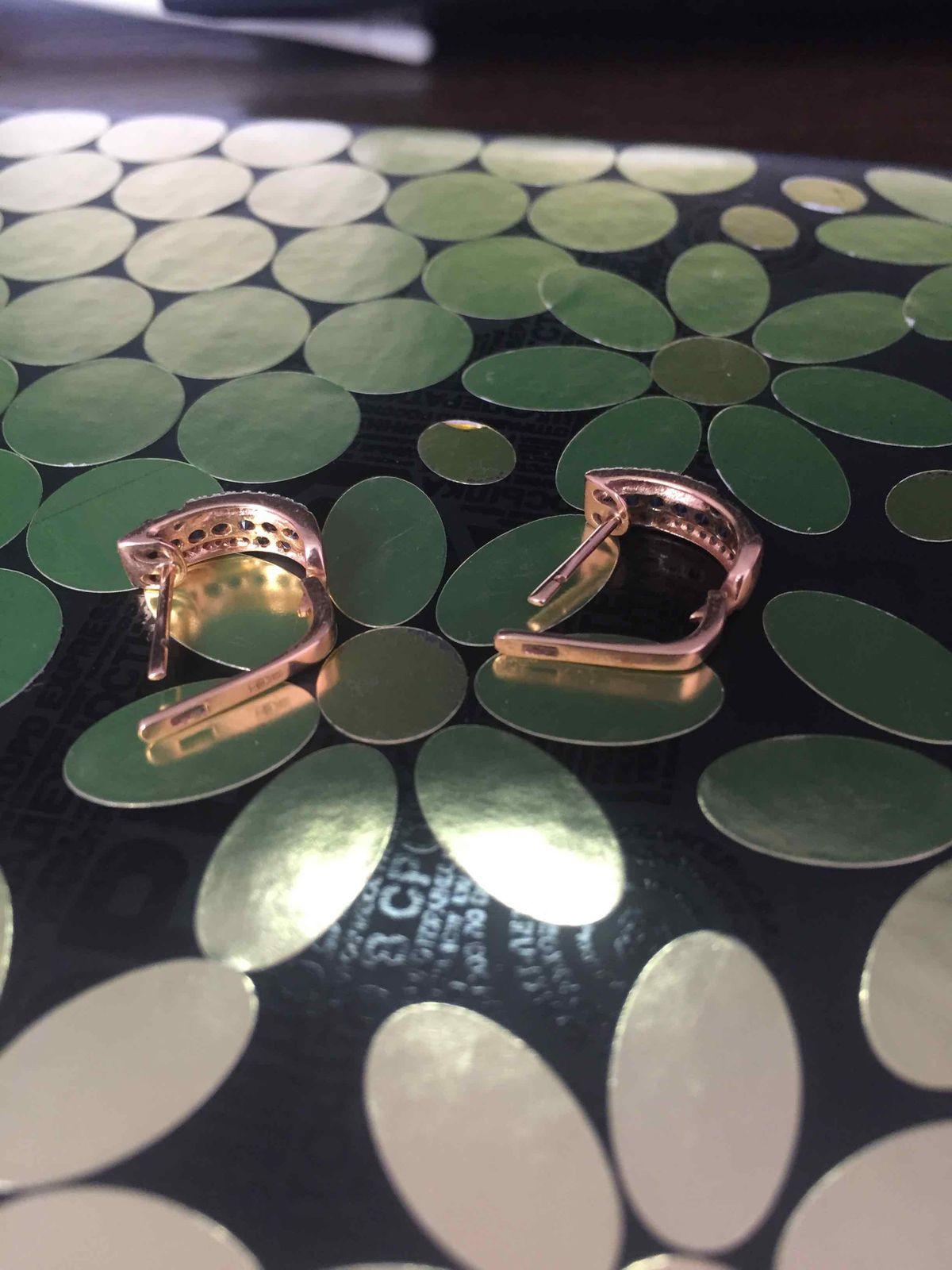 Сережки золотые с сапфирами