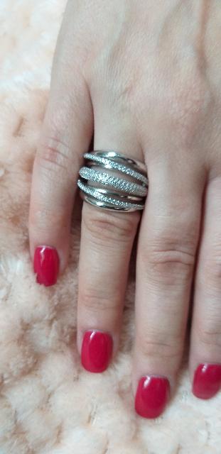Кольцо Серебро с фианитами, размер 16.5