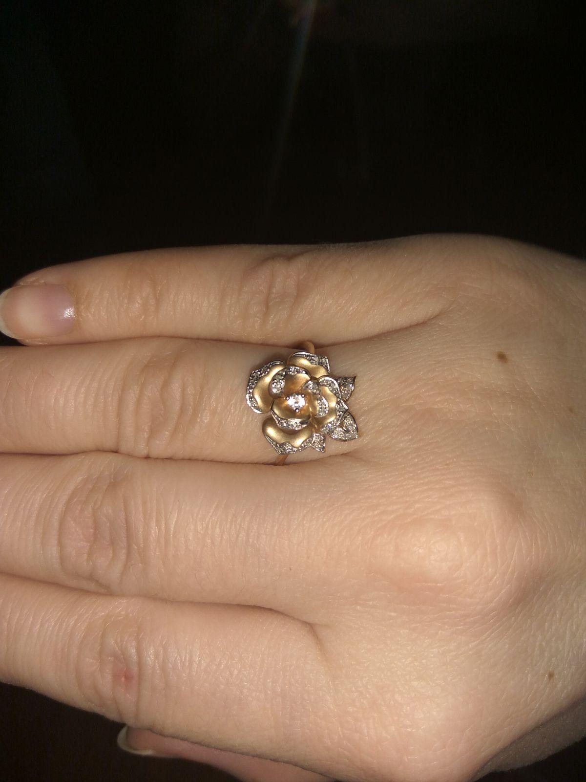 Кольцо роза с россыпью брилиантов и топазом.