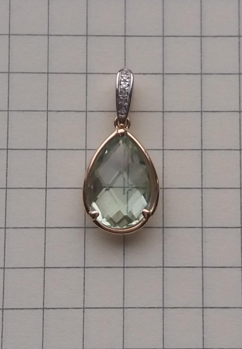 Фисташковая капля аметиста с бриллиантами