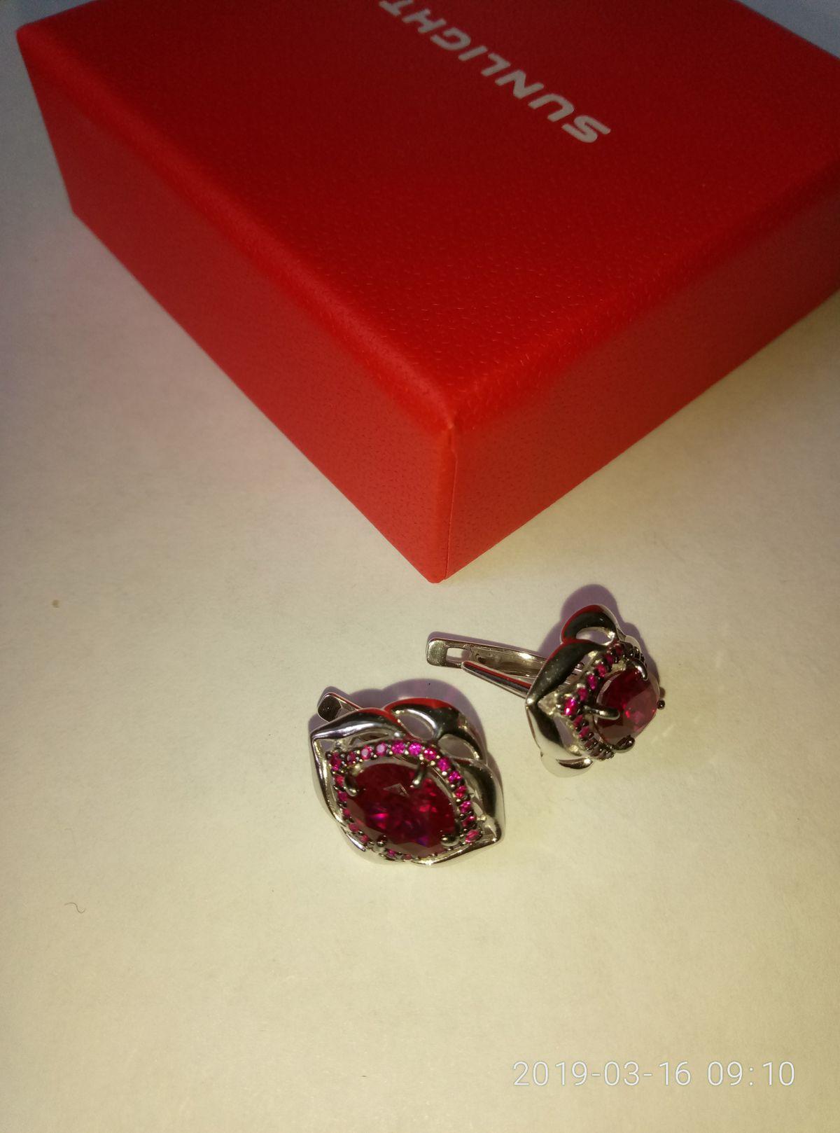 Серебряные серьги с корундом и розовыми фианитами.