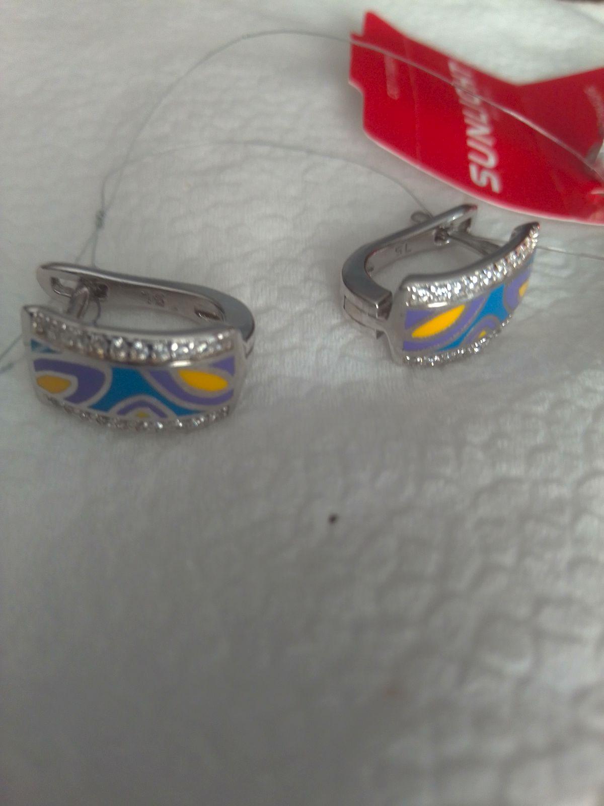 Серьги серебро эмаль и фианиты