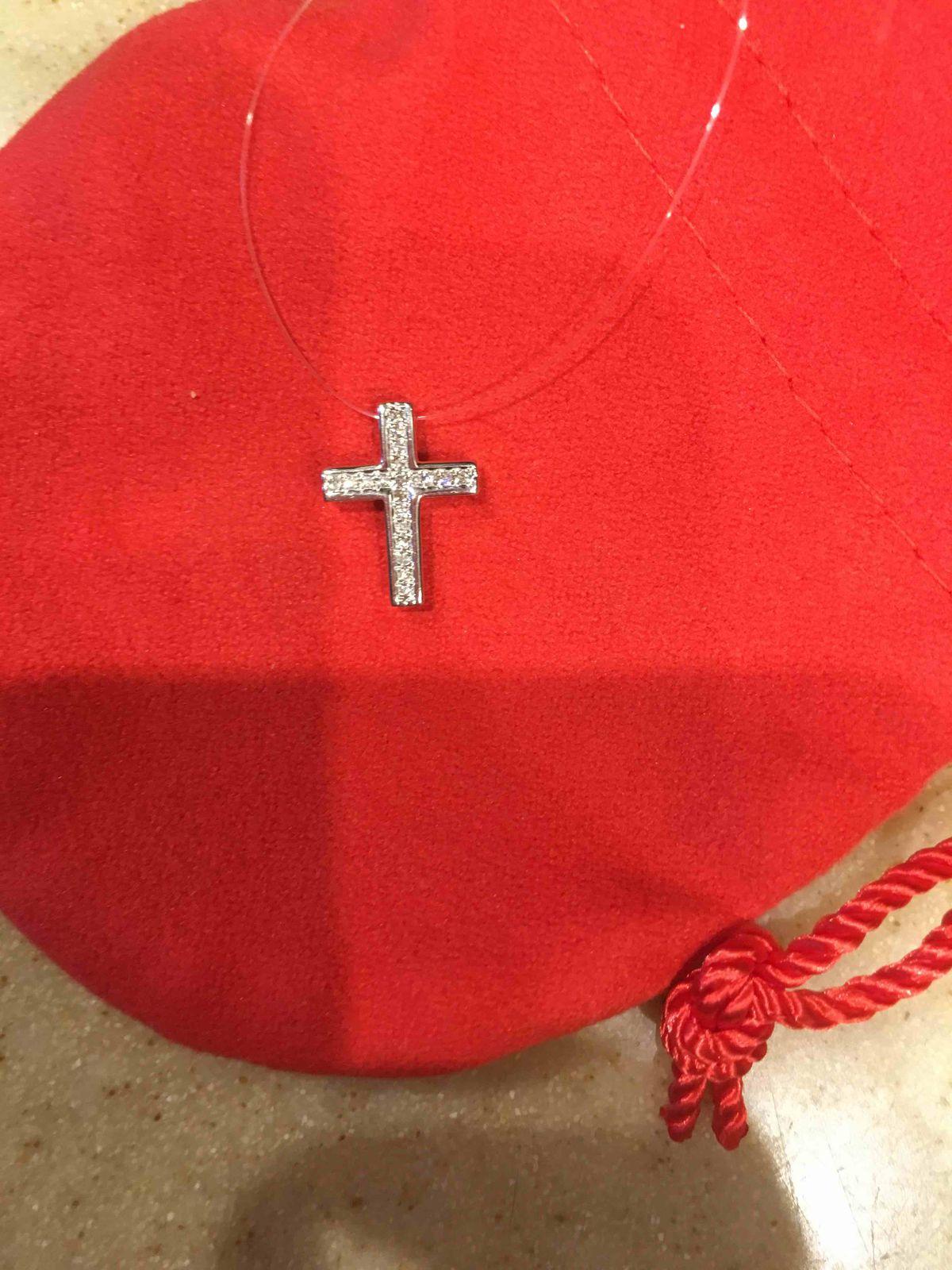 Крестик белое золото с бриллиантами