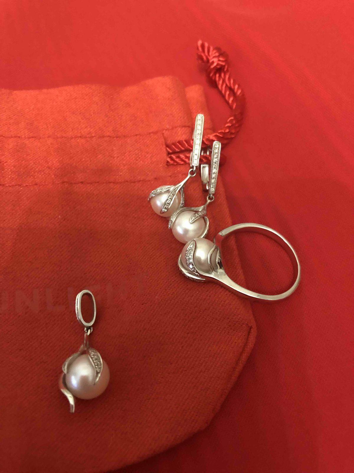 Подвеска из белого золота с жемчугом и бриллиантами